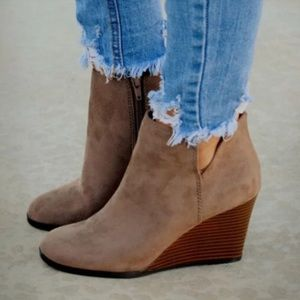 Taupe Vegan Leather Booties
